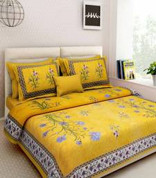 Cotton Indian Print Queen Size Cotton Bedding Bedsheet With 2 Pillow Cover Sanganeri Double Size