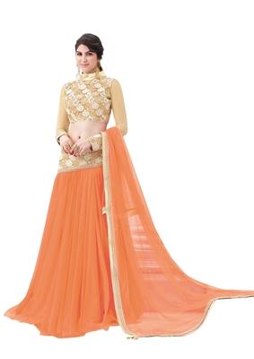 Orange Color Net Designer Semi  Stitched Lehenga Choli