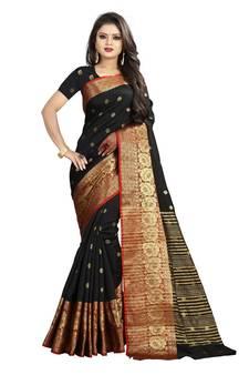 b65db53a27d224 Black woven banarasi saree with blouse. Shop Now