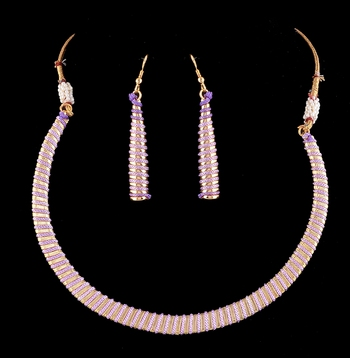 Gold And Purple Thread Work Necklace Set