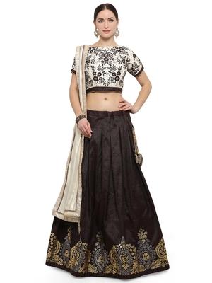 Brown Color Silk Designer Semi  Stitched Lehenga Choli