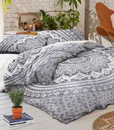 Buy Mandala omber white cotton duvet cover with 2 pillow case size queen duvet-cover online