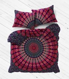 Red peacock mandala duvet cover cotton with 2 pillow cover size queen