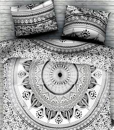 Flower mandalacotton white duvet cover with 2 pillow cover size queen