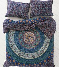 Round mandala blue cotton duvet cover with 2 pillow cover size queen