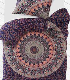 Cotton fabric elephant mandala blue duvet cover size single