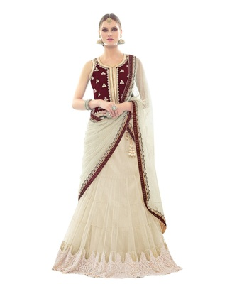 e807322abd0 Cream color net designer semi stitched lehenga choli - Mahotsav E Solution  - 2776460