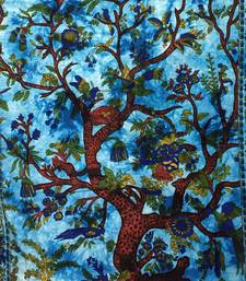 Blue Twin Tapestry Cotton Tree Of Life