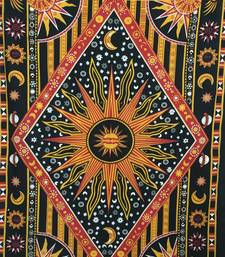 Yellow Sun Moon Star Twin Tapestry Cotton