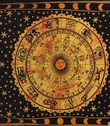 Zodiac Sunsign Cotton Twin Tapestry Orange
