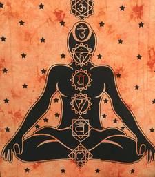 Orange Cotton 7 Chakra Yoga Buddha Twin Tapestry