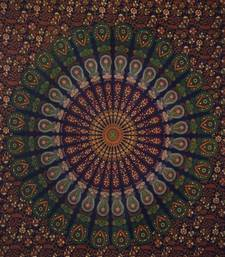 Brown Peacock mandala Cotton Twin Tapestry