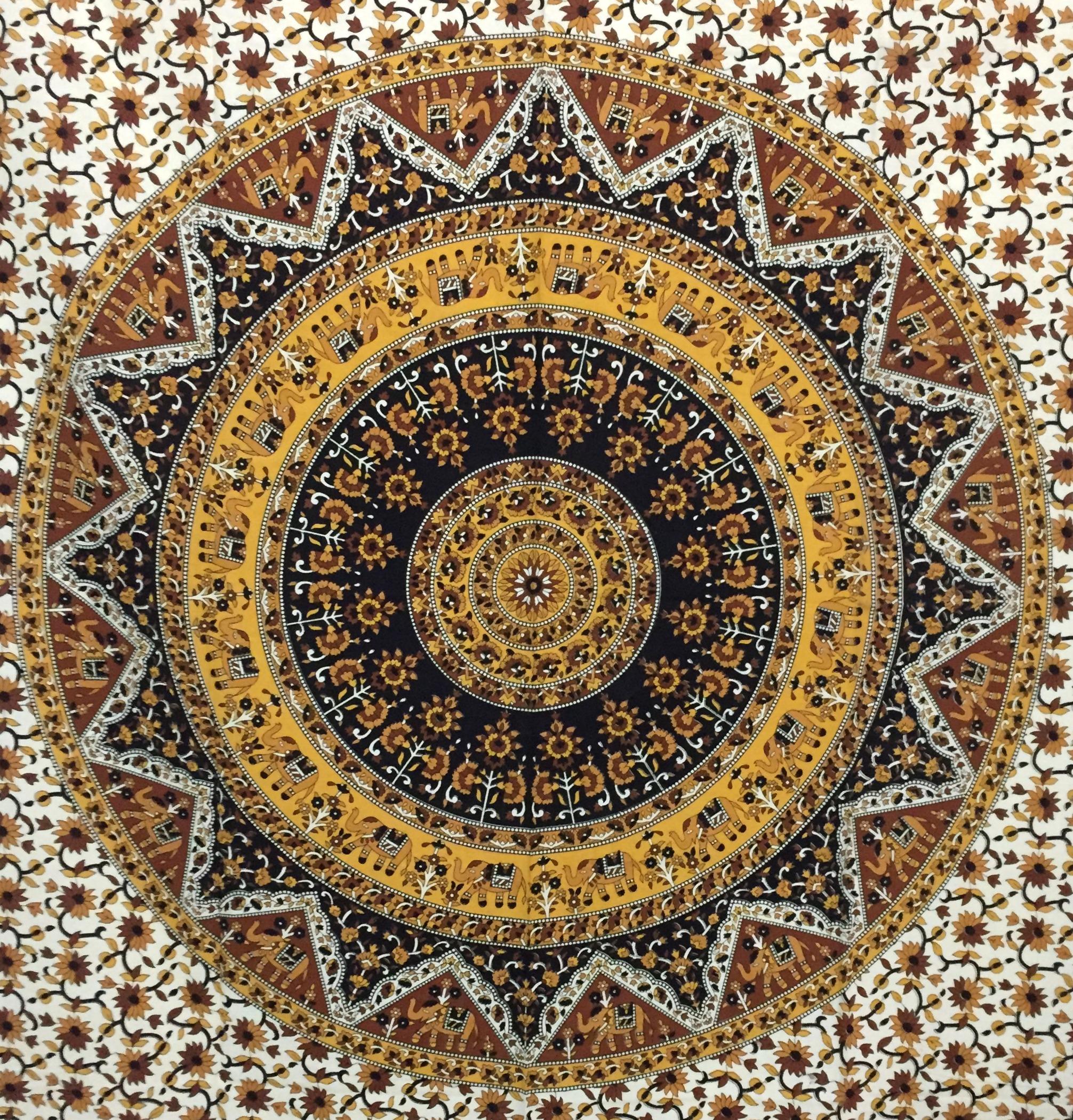dfcb682bda Elephant mandala Flower Cotton Twin Tapestry Yellow - INDIAN CONSIGNERS -  2776912