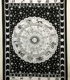 Zodiac Sunsign Cotton Twin Tapestry Black
