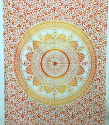 Flower mandala Orange Twin Tapestry Cotton