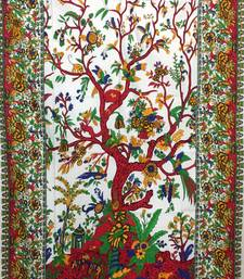 Tree Of Life Red Cotton Twin Tapestry