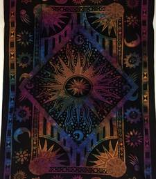 Sun Moon Star Cotton Multi Twin Tapestry
