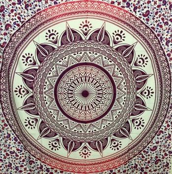 Flower mandala Purple Cotton Twin Tapestry