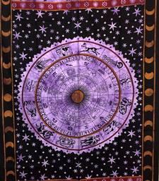 Zodiac Sunsign Cotton Twin Tapestry Purple