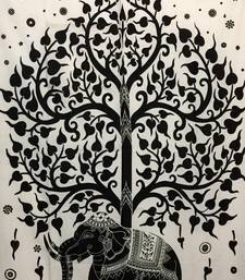 Cotton Elephant With Tree White Twin Tapestry