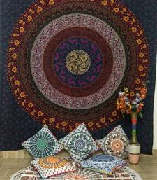 mandala Printed Queen Tapestry Red Cotton