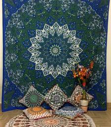 Printed Flower Blue Queen Tapestry Cotton
