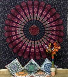 Pink Peacock mandala Cotton Queen Tapestry