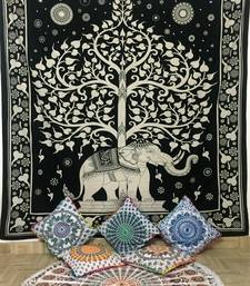 Elephant With Tree Black Cotton Queen Tapestry
