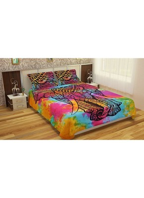 Stand elephant multi duvet cover with 2 pillow cover cotton size queen