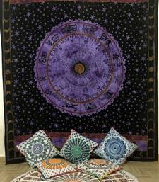 Zodiac Sunsign Purple Queen Tapestry Cotton