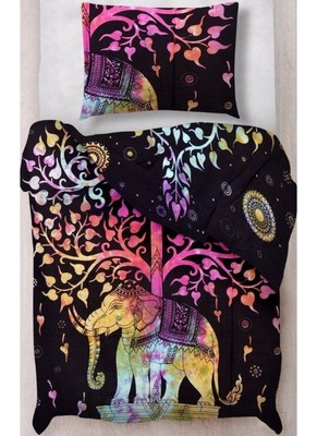 Elephant with tree multi duvet cover cotton size single