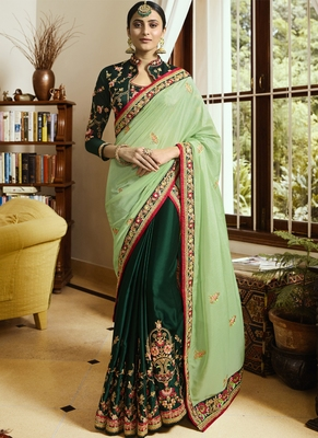 Lime embroidered art silk saree with blouse