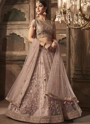 Baby Pink Net Heavy Embroidery Semi Stitched Lehenga Choli