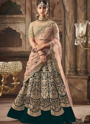 Green Falkn Velvet Bridal Semi Stitched Lehenga Choli