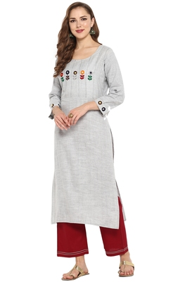 Cotton Embroidered Straight Kurta With Straight Pant