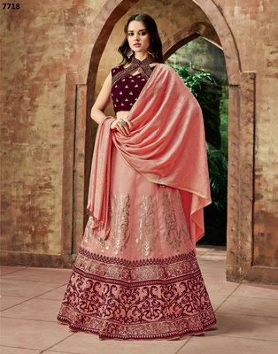 Red embroidered silk lehenga with dupatta