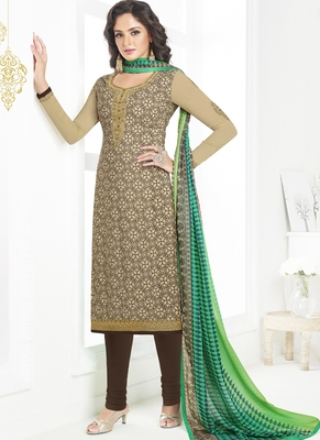 Beige embroidered crepe semi stitched salwar with dupatta