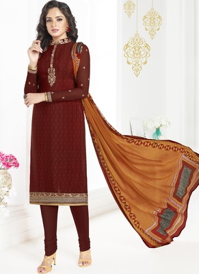 Maroon Embroidered Crepe Semi Stitched Salwar With Dupatta