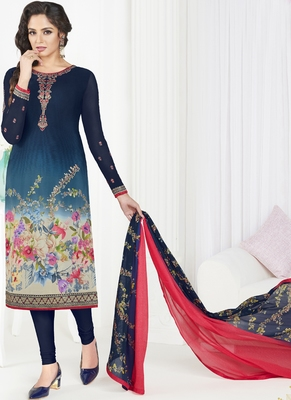 Navy blue embroidered crepe semi stitched salwar with dupatta