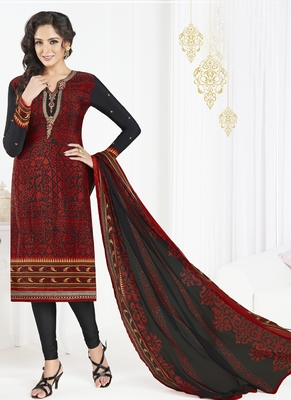 Black embroidered crepe semi stitched salwar with dupatta