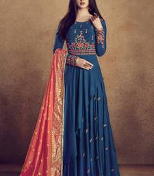 Buy Royal blue embroidered rayon stitched salwar with dupatta readymade-suit online