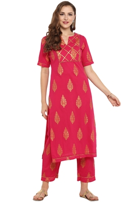 Cotton Foil Print Straight Kurta With Straight Pant