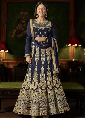 Navy blue embroidered silk semi stitched salwar with dupatta