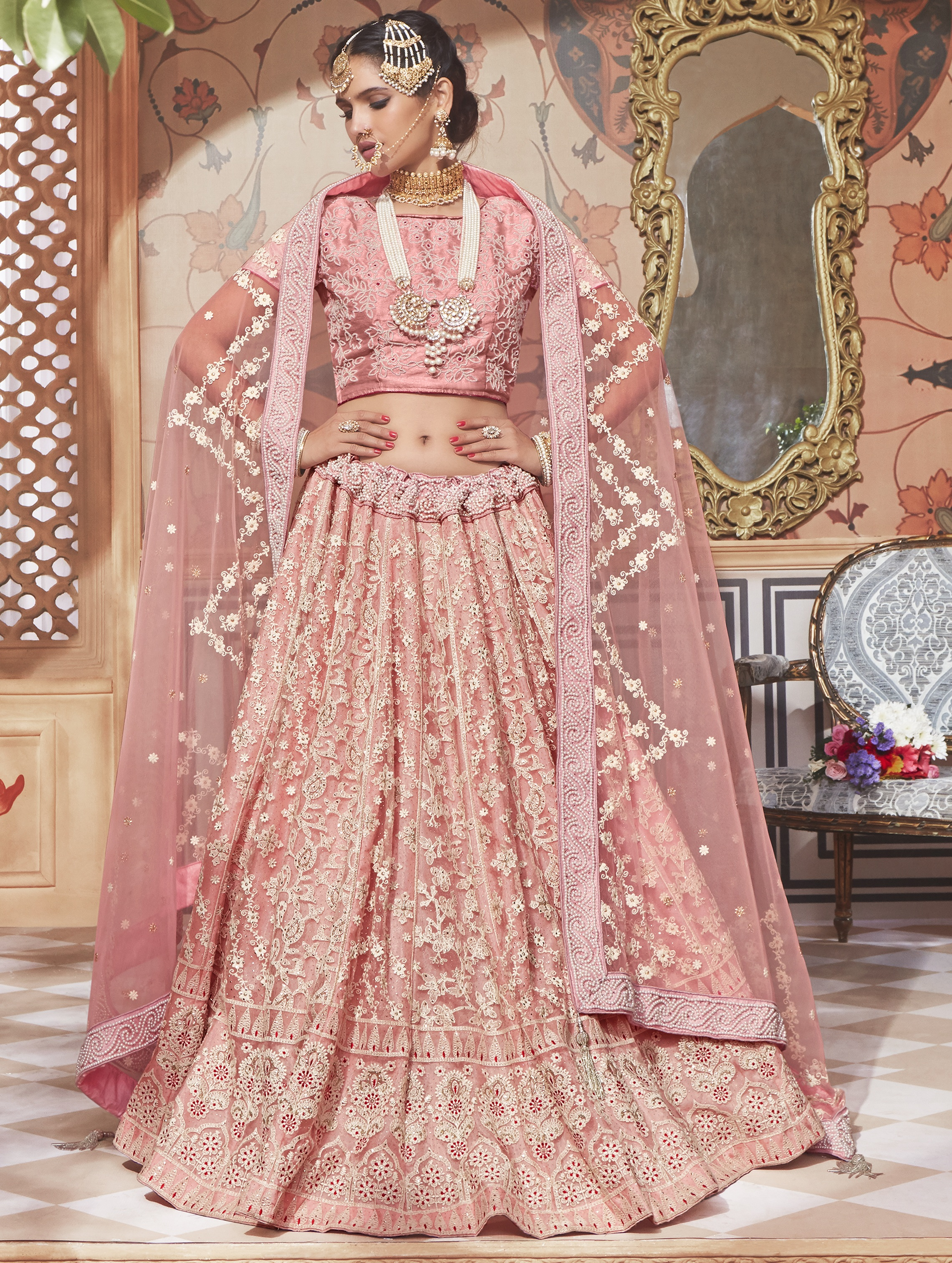 78c6936344 Baby pink embroidered net lehenga with dupatta - The Fashion Attire -  2777284