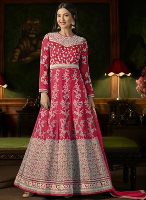 Rani Pink Embroidered Silk Semi Stitched Salwar With Dupatta