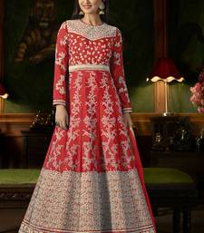 Red Embroidered Silk Semi Stitched Salwar With Dupatta