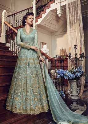 Sky blue embroidered net semi stitched salwar with dupatta