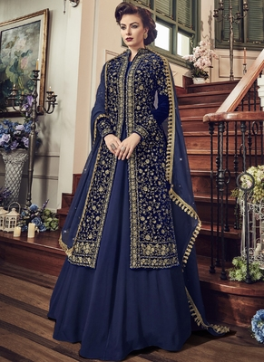 Royal blue embroidered velvet semi stitched salwar with dupatta