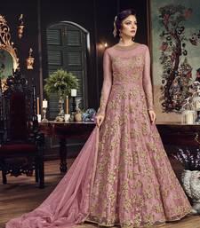 Pink Embroidered Net Salwar Semi Stitched