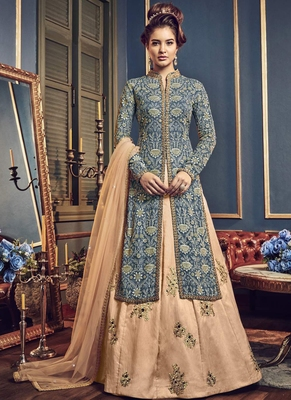 Teal Embroidered Georgette Semi Stitched Salwar With Dupatta